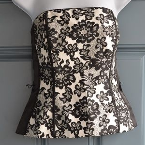Black/White Floral Print Bustier by WHBM Sz. 2